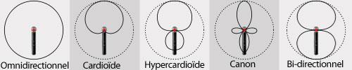 images du tableau des directivités des micros cardioides, omnidirectionnel, etc...